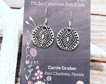 Pewter charm earrings on nickel free ear wires.