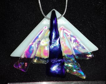 Unique crinkley dichroic and fused glass pendant.
