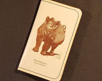 Leather Credit Card Holder - with Rhino Engraving - Free Global Shipping