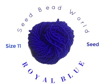 15% Off Blue Seed Bead . Size 11 Royal Blue Opaque Size . One Strung Hank .Seed Bead World