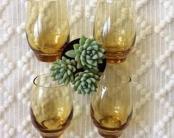 Vintage Amber Libbey Glasses // glassware, juice cups, set of 4, small, drinkware, barware, bar cart, kitchen, wedding gift, orange, brown