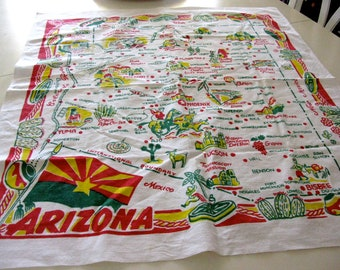 "Vintage Arizona State Tablecloth  or Table Topper (31 by 36"")"