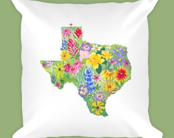 Texas Wildflower Pillow | Wildflowers | Texas Pillow | Texas Art | Wildflower Decor