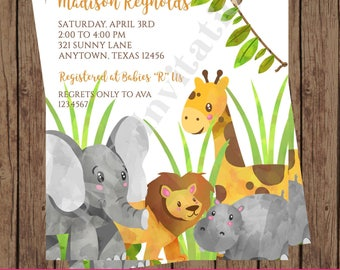 Custom Printed Jungle, Watercolor, Wild Animals, Safari Baby Shower Invitations - 1.00 each with envelope