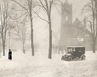 The Historic Grand Circus Park (Detroit) in Winter c1900. Archival Print. Limited edition