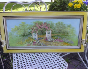 Cottage Chic Hand Painted Garden Arbor Scene with Pink Rosebuds and Wild Flowers
