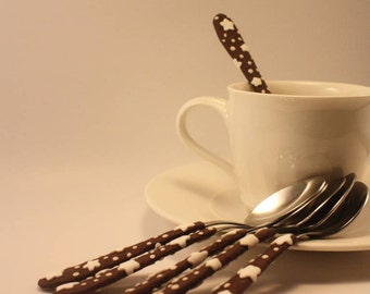 6 polymer clay decorated teaspoons