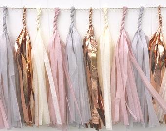 Blush, Grey, Cream & Rose gold tassel garland // wedding and party decoration// backdrop//birthday party