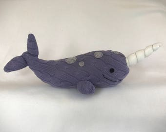 Narwhal sea creature from recycled materials stuffed animal plush