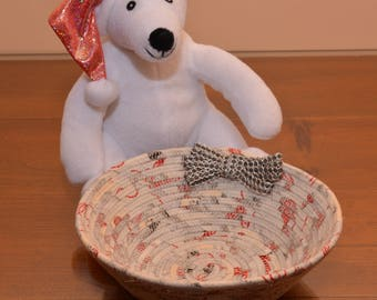 Fabric Rope Coiled Basket: Holiday Christmas Silver  Red White - Round