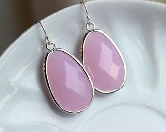 Large Silver Pink Opal Earrings Pink Jewelry Teardrop Glass Bridesmaid Earrings Wedding Earrings Jewelry Opal Pink Bridesmaid Jewelry
