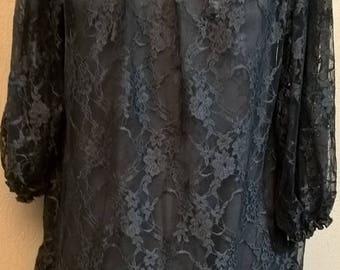 Gray or black lace tunic dress