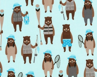 Denim Brawny Bears by Andie Hanna for Robert Kaufman quilting cotton blue fishing fabric material by the yard or metre