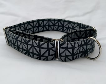 Grid in Black and Grey-Choose Buckle or Martingale Dog Collar-Small-Large Breed Dog- 1 inch 1.5 -2 inch width-Traffic-Dog Leash