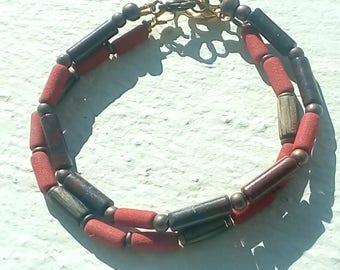 "Duo of bracelets: ""Lava - Jasper and ebony."""