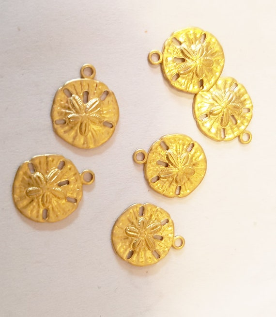 6 gold sand dollar charms metal brass 10mm vintage animals sealife jewelry making supplies