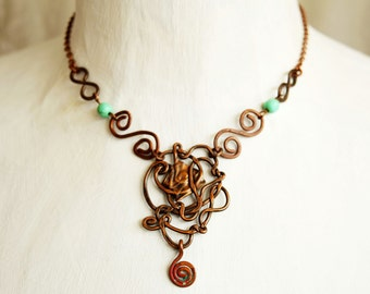 Copper Necklace, Wire Jewelry, Wire Weaving, Woven Copper Necklace, Asymmetric, Unique Jewelry, Turquoise