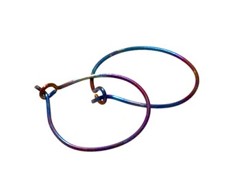 Titanium rainbow hoop earrings