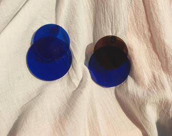 Blue Acrylic Earrings, Amber Brown Acrylic Earrings, Circular Earrings, Earring Studs, Earring with Sterling Silver Posts