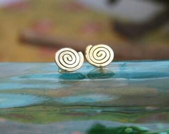 Gold Stud Earrings - Spiral Pattern Earrings - Large Stud Earrings | Handcrafted Jewelry