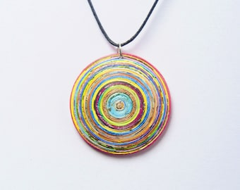 Quilled paper necklace, FREE SHIPPING, gift for her paper pendant circle necklace modern boho pendant minimal eco friendly paper jewellery