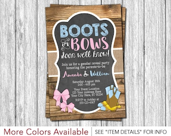 Boots or Bows Gender Reveal Invitation | Gender Reveal Party Invitation
