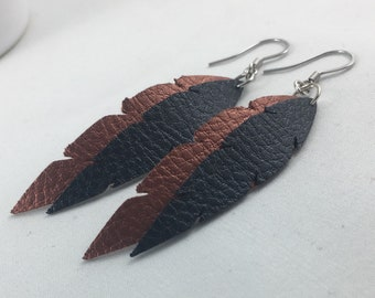 Feather Earrings - Faux Leather -Leather Earrings - Leather Feathers - Boho Earrings - Dangle Earrings - Vegan Leather - Pebble Leather