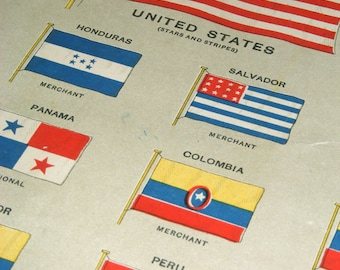 HUGE Antique FLAGS CHART vintage bookplate, Chart 1908 wall art vintage color lithograph illustration