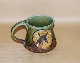 Handmade Stoneware 16 oz Mug with Nigerian Doe medallion