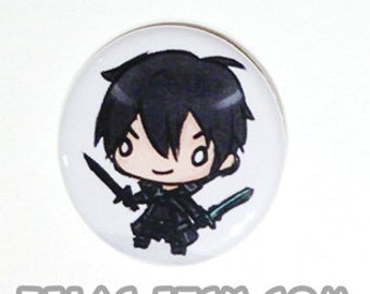 Chibi Anime Button: Sword Art Online - Kirito (SAO)