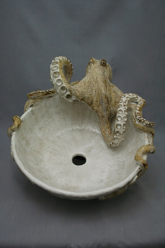 High Quality Large Hand Made Ceramic Octopus Vessel Sink By Shayne Greco Beautiful  Mediterranean Pottery