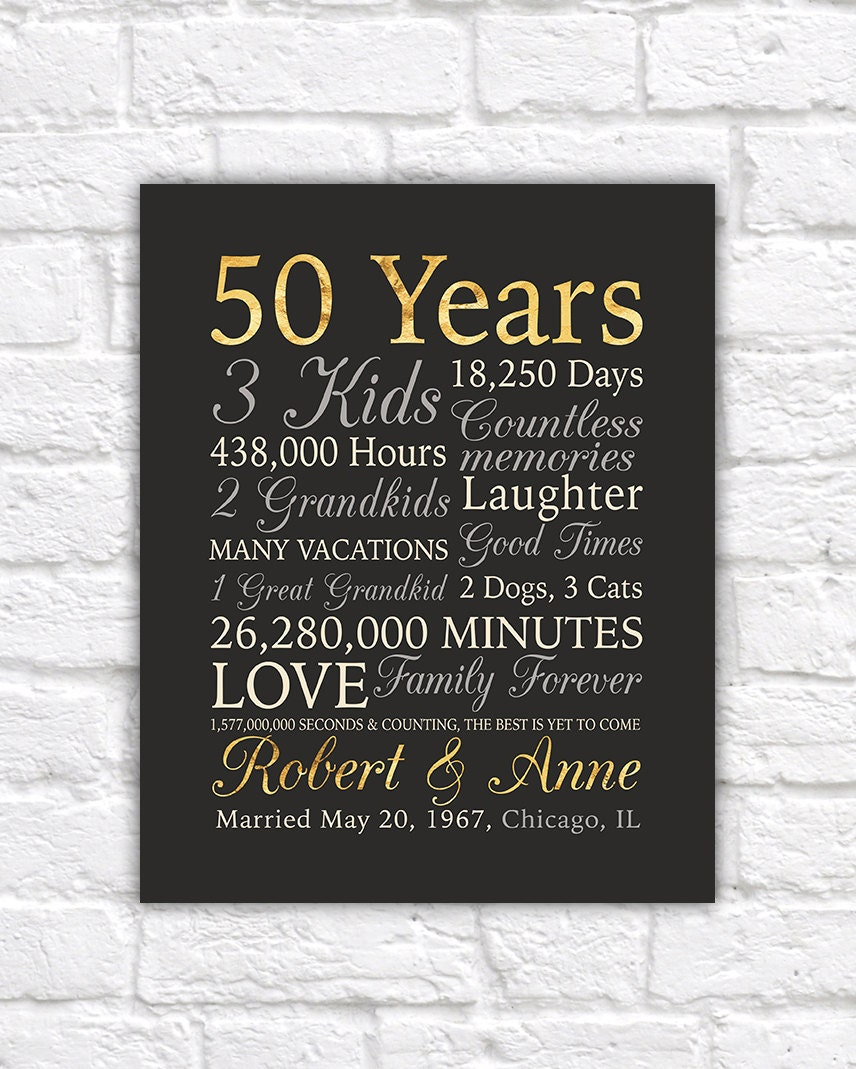 50th Anniversary For Husband Gifts: 50th Anniversary Gift Gold Anniversary 50 Years Wedding