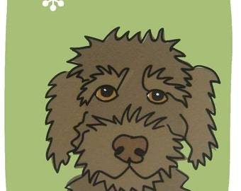 Goofy III- a Chocolate Labradoodle in the Dog Series Art Print