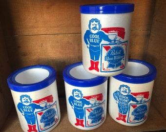 4 Piece Pabst Blue Ribbon Beer Styrofoam Koozie 1970's
