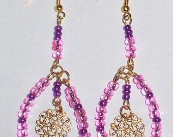 ANTIQUE LOOKING PINK  glass  chandelier earrings dangle