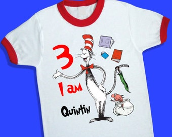 Cat in the Hat Birthday Ringer Tee. Personalized Birthday Shirt with Name and Age. 1st 2nd 3rd 4th 6th 7th 8th 9th Birthday T Shirt. (25136)