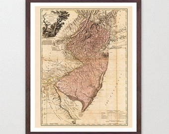New Jersey Map - New Jersey Map Art - Map Decor - New Jersey Art - New Jersey Map Art - New Jersey Wall Art - New Jersey - Vintage Map
