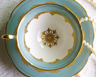 Vintage EB Foley Bone China Teacup & Saucer, Blue-Grey, Gold, White, Made in England. Perfect for a Vintage Tea Party, Gift or Styling Prop