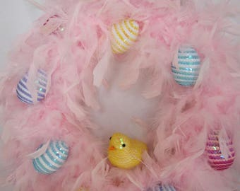 Pink Feather Easter Egg Wreath
