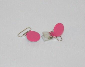 1 pince clip métal attache-tétine/sucette/doudou/bretelle fuchsia
