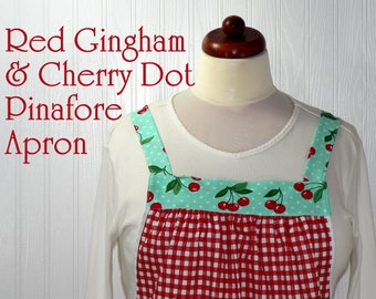 Red Gingham & Cherry Dot Pinafore Apron, no tie apron, comfortable all day baking apron, retro turquoise + red kitchen apron, made to order