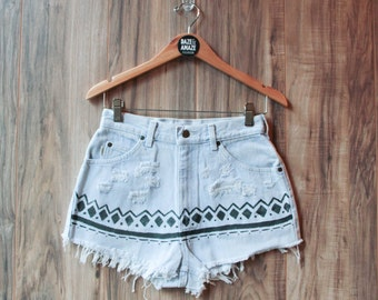 High waist vintage denim shorts Size 8 | Ripped distressed shorts | Aztec tribal tumblr painted hipster festival bohemian unique shorts |
