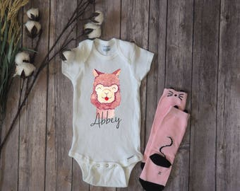 Custom Llama ONESIE® Cute Baby Clothes Baby Girl Clothing Personalized ONESIE® Infant Newborn LLAMA Baby Shower Gift Boho Baby Hippie Baby