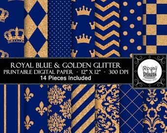 14 Royal Blue & Gold Glitter Digital Paper Backgrounds - Printable or Digital Scrapbook Paper - Royal Baby Shower - Royal Prince #90