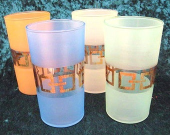 Four 8 oz Mid-Century Modern Gold-Trim Drinking Glasses