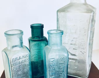 4 Vintage Apothecary Blue Bottles