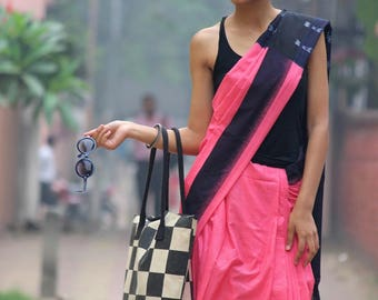 Bubblegum Pink Ikkat Cotton Handwoven Saree