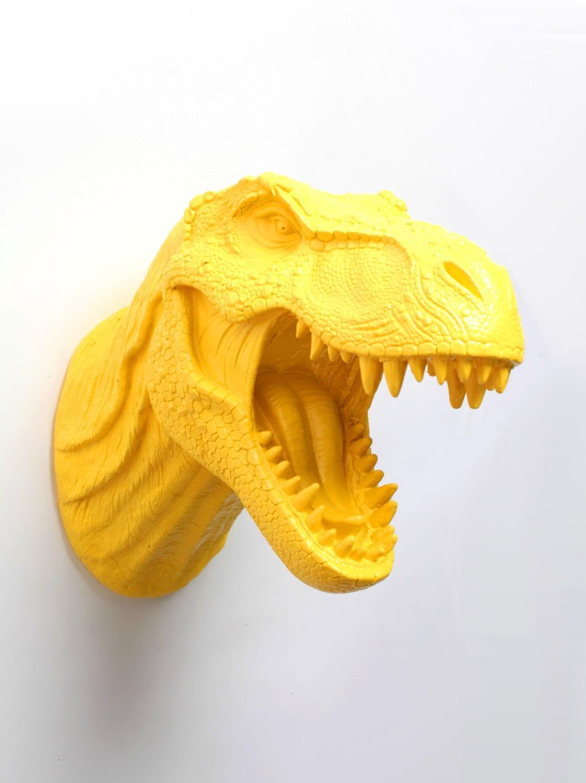 Yellow Dinosaur Wall Mount The Waze Yellow Resin T-Rex Wall