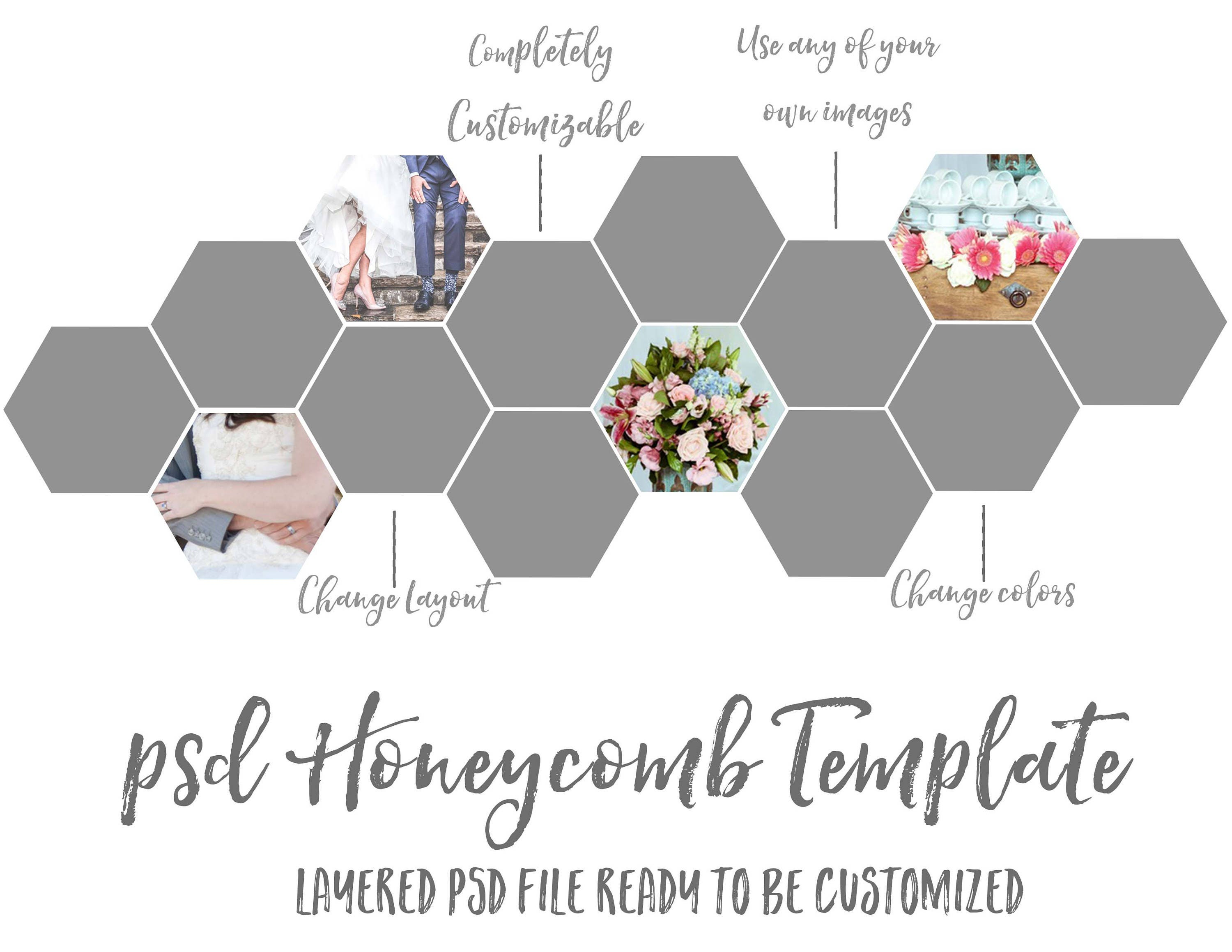Photoshop Honeycomb Template | Photo Template | Blog Template ...