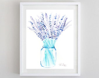 Lavender Watercolor, Original Art, Original Painting, Watercolor Lavender, Lavender Painting, Lavender Art, Mason Jar Painting